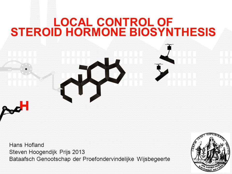CYP11A1 cholesterol pregnenolone 17-OH-pregnenolone progesterone 17-OH-progesterone androstenedione DHEA testosterone DHT CYP17A1 HSD3B CYP17A1 AKR1C3 SRD5A1/2 CYP17A1 androgens Steroïdogenese in prostaatkanker Hofland et al.