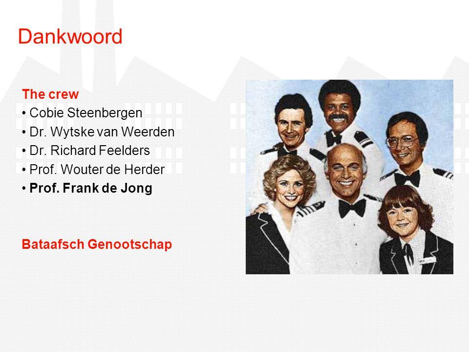 The crew Cobie Steenbergen Dr. Wytske van Weerden Dr. Richard Feelders Prof. Wouter de Herder Prof. Frank de Jong Bataafsch Genootschap Dankwoord