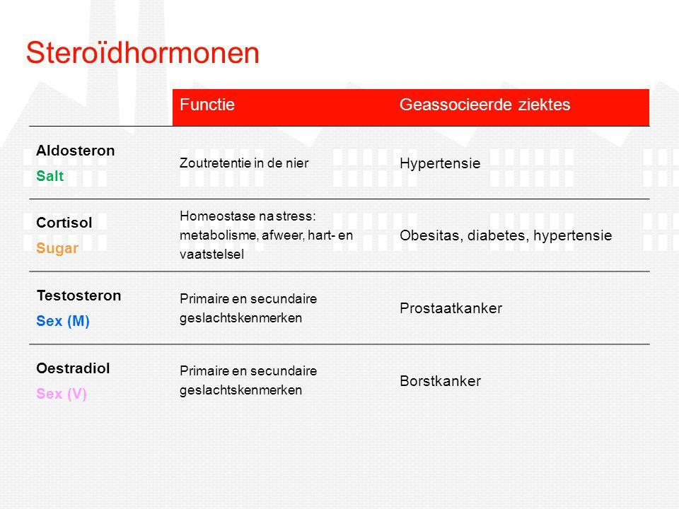 FunctieGeassocieerde ziektes Aldosteron Salt Zoutretentie in de nier Hypertensie Cortisol Sugar Homeostase na stress: metabolisme, afweer, hart- en va