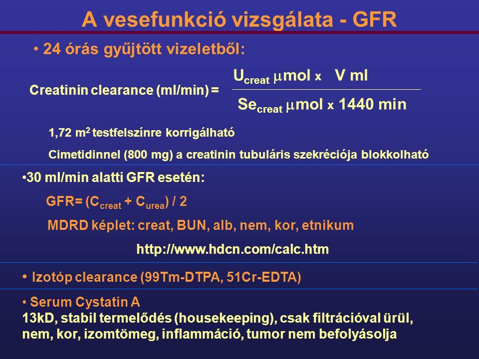 A vesefunkció vizsgálata - GFR Creatinin clearance (ml/min) = U creat  mol x V ml Se creat  mol x 1440 min 24 órás gyűjtött vizeletből: 1,72 m 2 tes