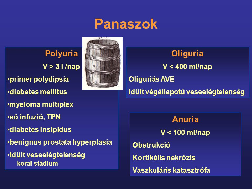 Polyuria V > 3 l /nap primer polydipsia diabetes mellitus myeloma multiplex só infuzió, TPN diabetes insipidus benignus prostata hyperplasia Idült ves