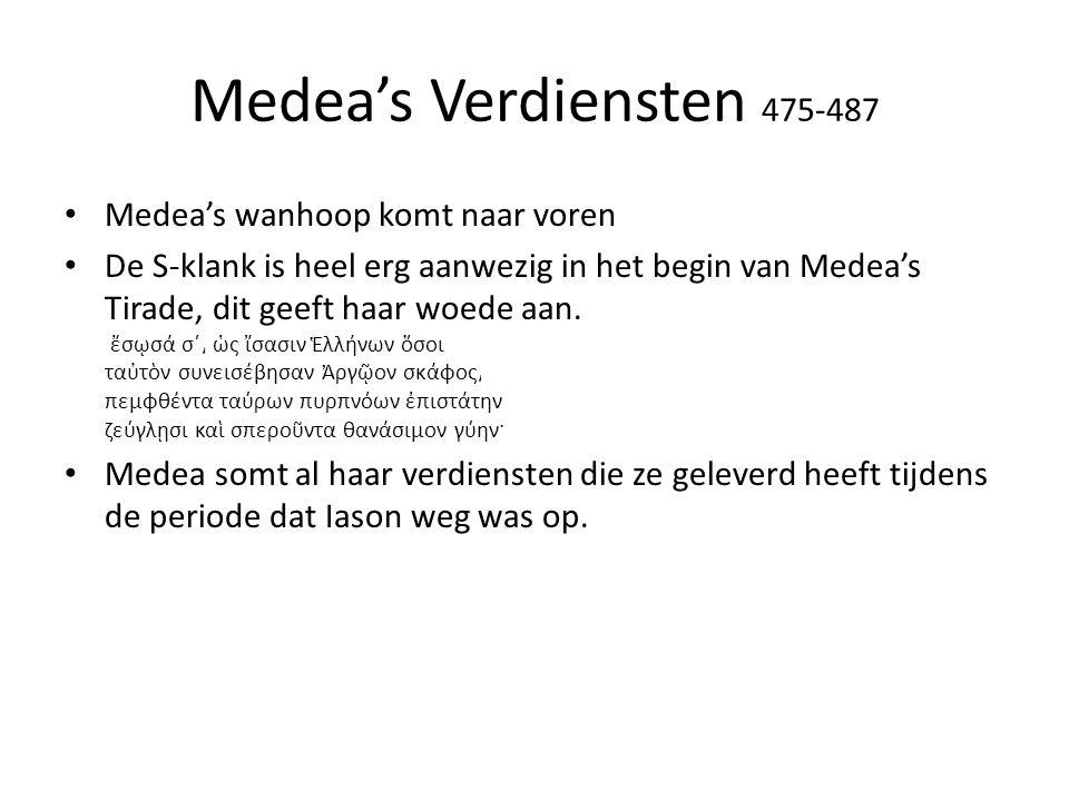 Medea's Verdiensten 475-487 Medea's wanhoop komt naar voren De S-klank is heel erg aanwezig in het begin van Medea's Tirade, dit geeft haar woede aan.