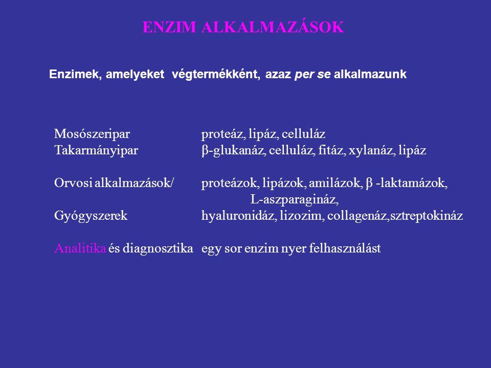 Enzimek, amelyeket végtermékként, azaz per se alkalmazunk ENZIM ALKALMAZÁSOK Mosószeriparproteáz, lipáz, celluláz Takarmányiparβ-glukanáz, celluláz, f