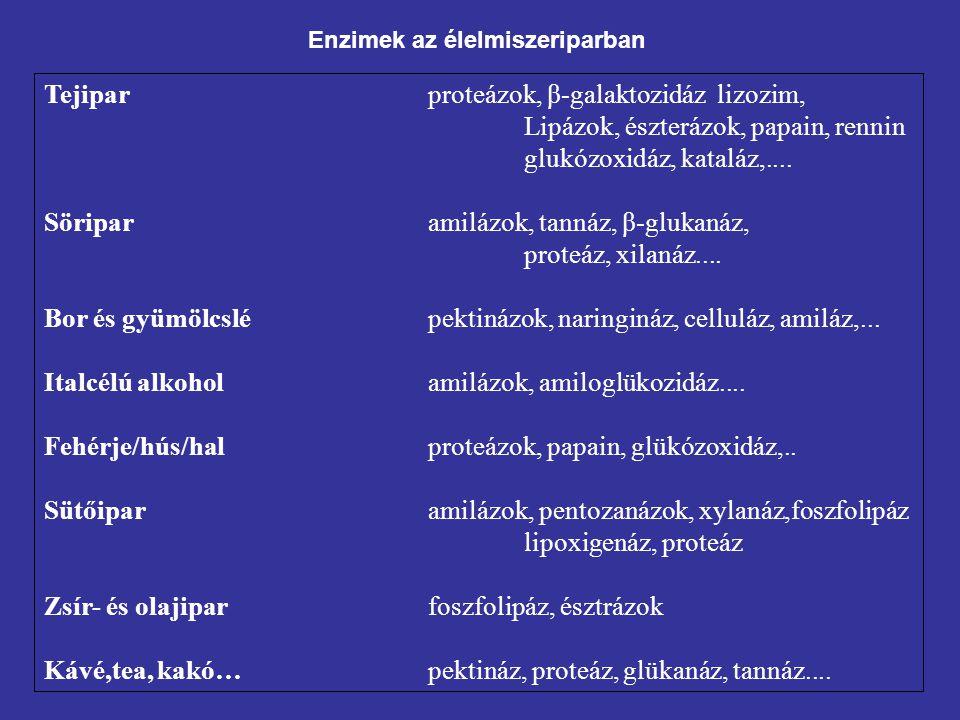 Enzimek az élelmiszeriparban Tejiparproteázok, β-galaktozidáz lizozim, Lipázok, észterázok, papain, rennin glukózoxidáz, kataláz,.... Söriparamilázok,