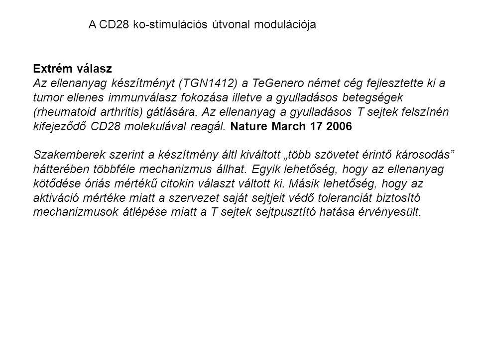 Extrém válasz Az ellenanyag készítményt (TGN1412) a TeGenero német cég fejlesztette ki a tumor ellenes immunválasz fokozása illetve a gyulladásos betegségek (rheumatoid arthritis) gátlására.