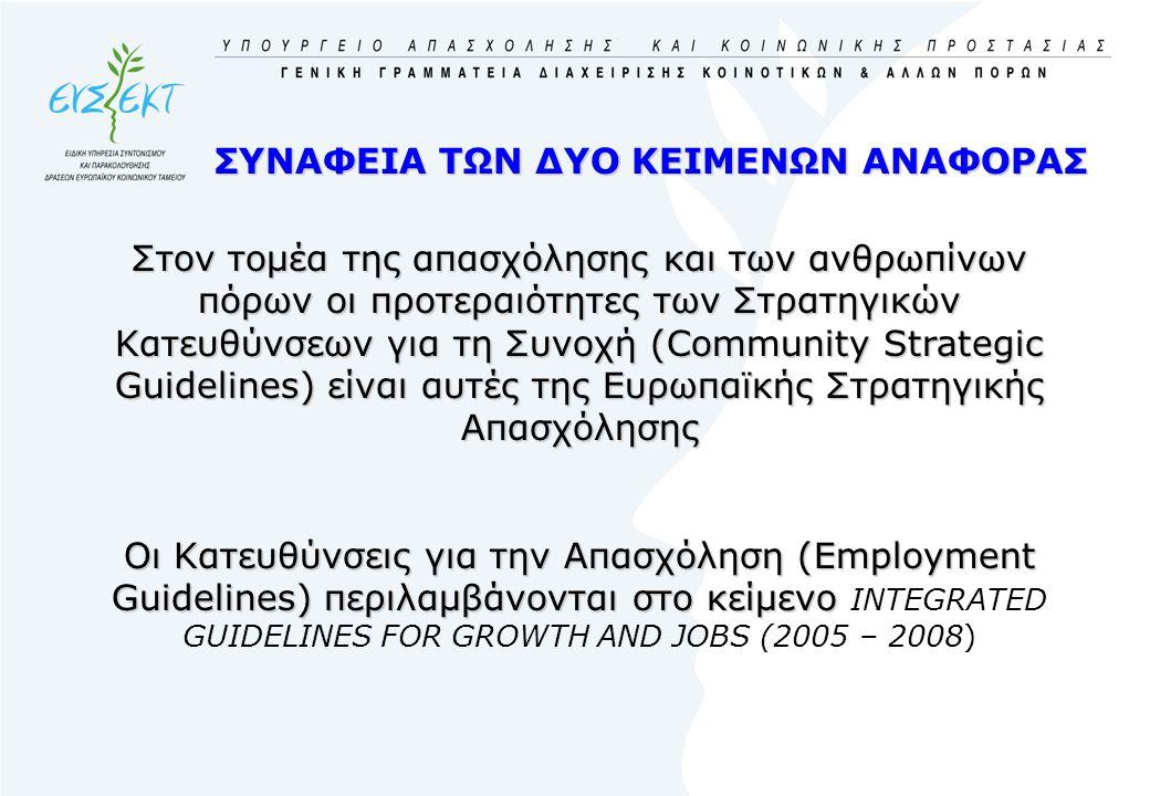 ΣΥΝΑΦΕΙΑ ΤΩΝ ΔΥΟ ΚΕΙΜΕΝΩΝ ΑΝΑΦΟΡΑΣ Στον τομέα της απασχόλησης και των ανθρωπίνων πόρων οι προτεραιότητες των Στρατηγικών Κατευθύνσεων για τη Συνοχή (Community Strategic Guidelines) είναι αυτές της Ευρωπαϊκής Στρατηγικής Απασχόλησης Οι Κατευθύνσεις για την Απασχόληση (Employment Guidelines) περιλαμβάνονται στο κείμενο Οι Κατευθύνσεις για την Απασχόληση (Employment Guidelines) περιλαμβάνονται στο κείμενο INTEGRATED GUIDELINES FOR GROWTH AND JOBS (2005 – 2008)
