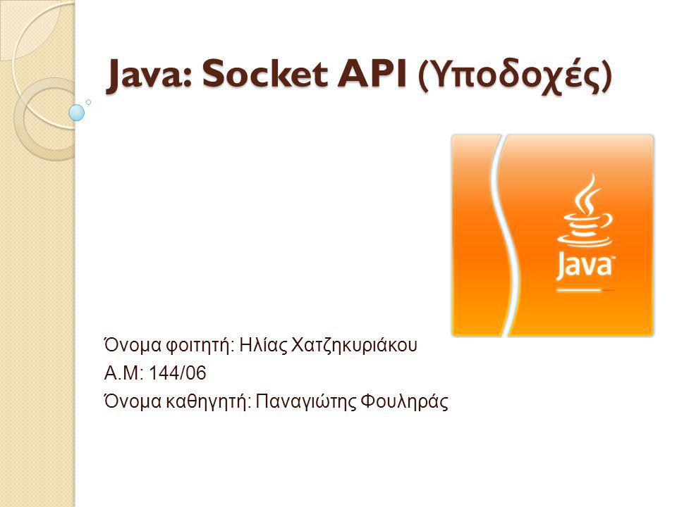 Java: Socket API ( Υποδοχές ) Όνομα φοιτητή: Ηλίας Χατζηκυριάκου Α.Μ: 144/06 Όνομα καθηγητή: Παναγιώτης Φουληράς