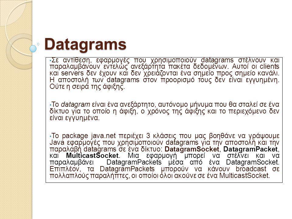 Datagrams Σε αντίθεση, εφαρμογές που χρησιμοποιούν datagrams στέλνουν και παραλαμβάνουν εντελώς ανεξάρτητα πακέτα δεδομένων. Αυτοί οι clients και serv