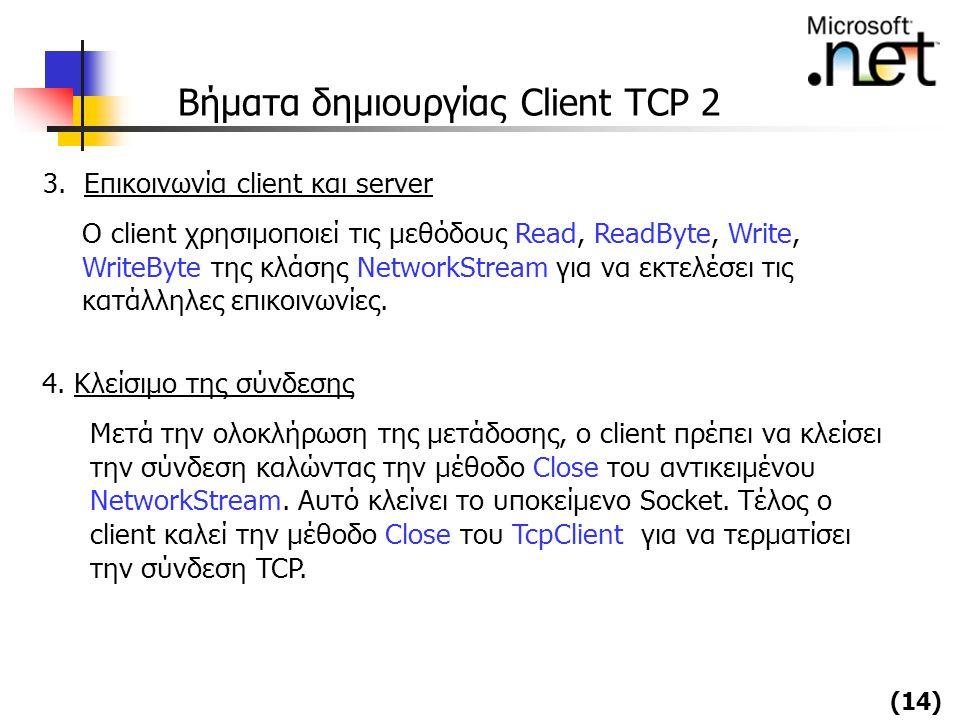 (14) Βήματα δημιουργίας Client TCP 2 3. Επικοινωνία client και server Ο client χρησιμοποιεί τις μεθόδους Read, ReadByte, Write, WriteByte της κλάσης N