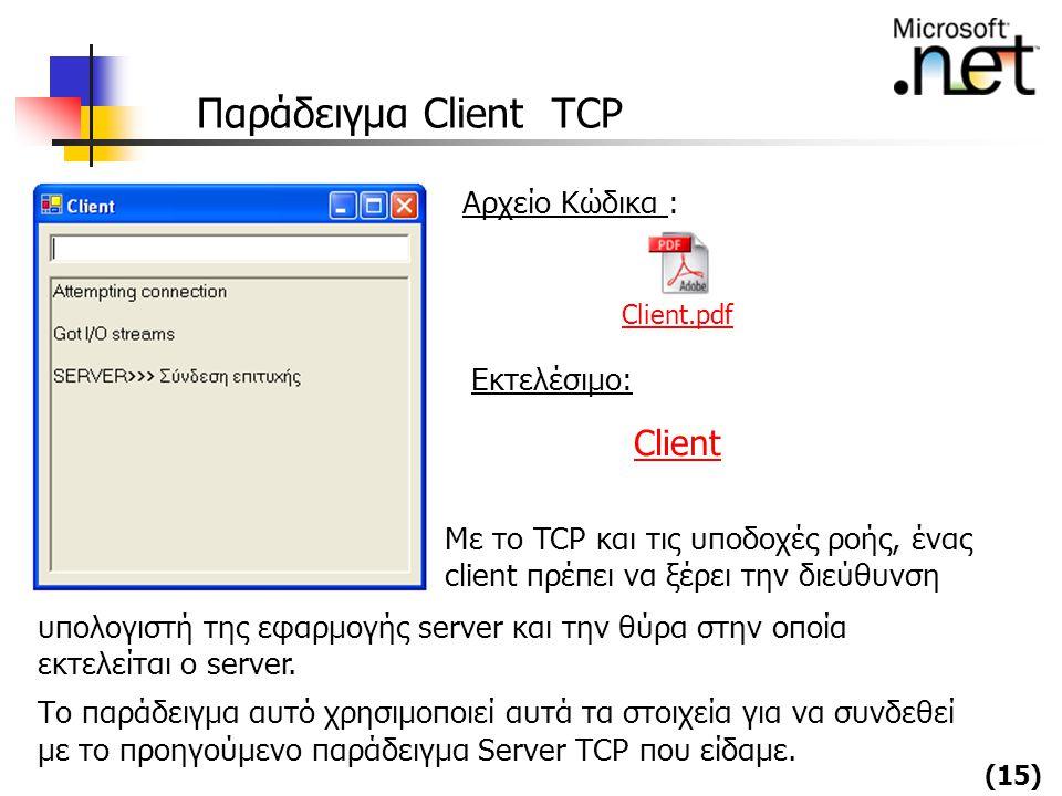 (15) Παράδειγμα Client TCP Με το TCP και τις υποδοχές ροής, ένας client πρέπει να ξέρει την διεύθυνση υπολογιστή της εφαρμογής server και την θύρα στη