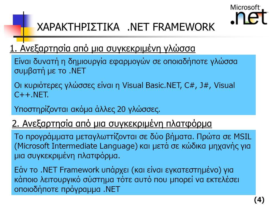 (4) ΧΑΡΑΚΤΗΡΙΣΤΙΚΑ.NET FRAMEWORK 1. Ανεξαρτησία από μια συγκεκριμένη γλώσσα Είναι δυνατή η δημιουργία εφαρμογών σε οποιαδήποτε γλώσσα συμβατή με το.NE