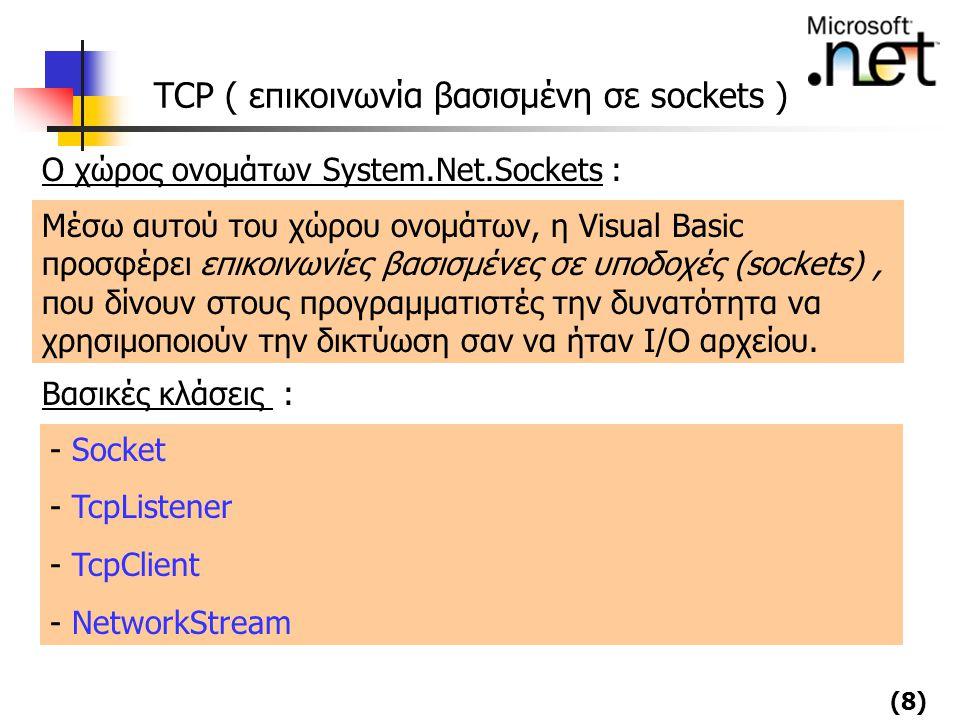 (8) TCP ( επικοινωνία βασισμένη σε sockets ) Μέσω αυτού του χώρου ονομάτων, η Visual Basic προσφέρει επικοινωνίες βασισμένες σε υποδοχές (sockets), πο