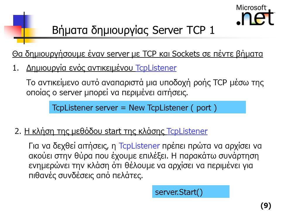 (9) Βήματα δημιουργίας Server TCP 1 Θα δημιουργήσουμε έναν server με TCP και Sockets σε πέντε βήματα 1.Δημιουργία ενός αντικειμένου TcpListener Το αντ