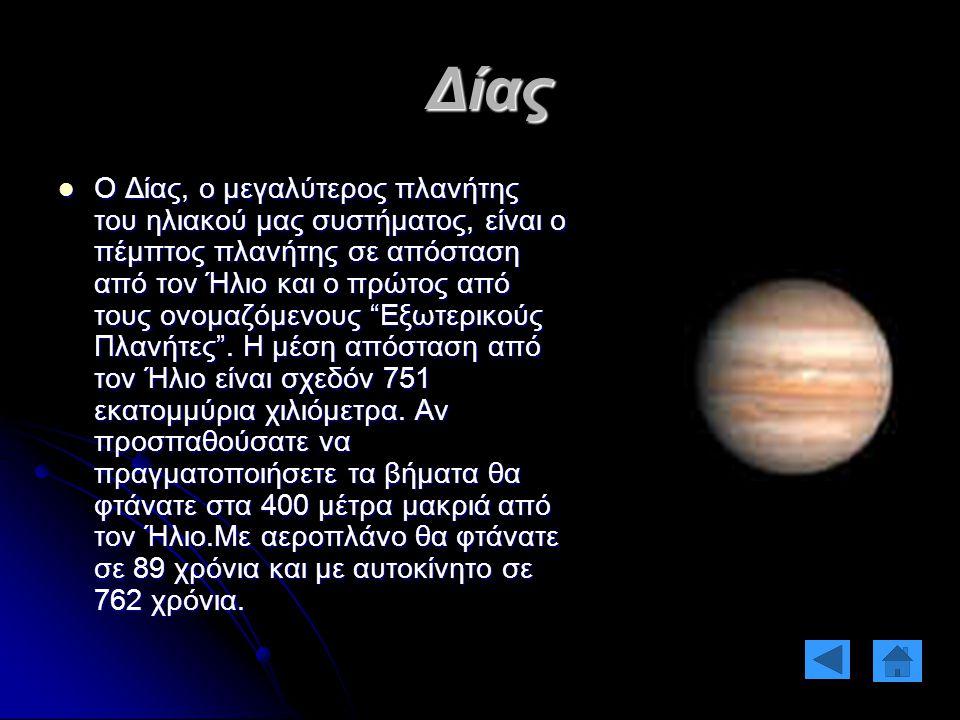 Δίας Ο Δίας, ο μεγαλύτερος πλανήτης του ηλιακού μας συστήματος, είναι ο πέμπτος πλανήτης σε απόσταση από τον Ήλιο και ο πρώτος από τους ονομαζόμενους