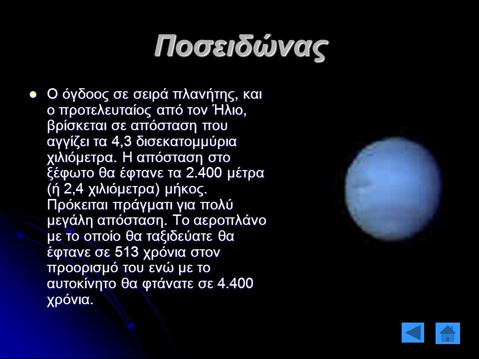 Ποσειδώνας Ο όγδοος σε σειρά πλανήτης, και ο προτελευταίος από τον Ήλιο, βρίσκεται σε απόσταση που αγγίζει τα 4,3 δισεκατομμύρια χιλιόμετρα. Η απόστασ