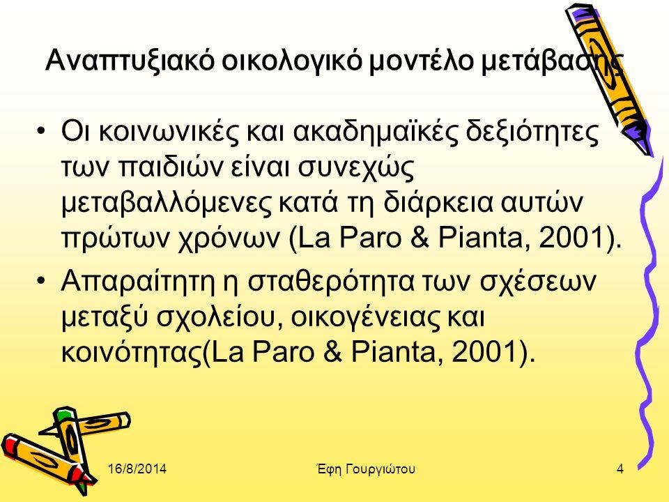 16/8/2014Έφη Γουργιώτου4 Aναπτυξιακό οικολογικό μοντέλο μετάβασης Οι κοινωνικές και ακαδημαϊκές δεξιότητες των παιδιών είναι συνεχώς μεταβαλλόμενες κατά τη διάρκεια αυτών πρώτων χρόνων (La Paro & Pianta, 2001).