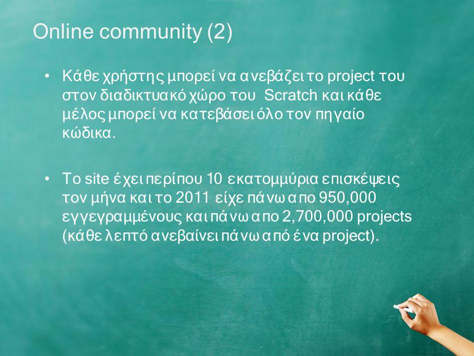 Κάθε χρήστης μπορεί να ανεβάζει το project του στον διαδικτυακό χώρο του Scratch και κάθε μέλος μπορεί να κατεβάσει όλο τον πηγαίο κώδικα.