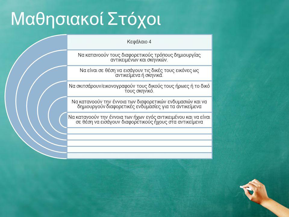 Μαθησιακοί Στόχοι Κεφάλαιο 4 Να κατανοούν τους διαφορετικούς τρόπους δημιουργίας αντικειμένων και σκηνικών.