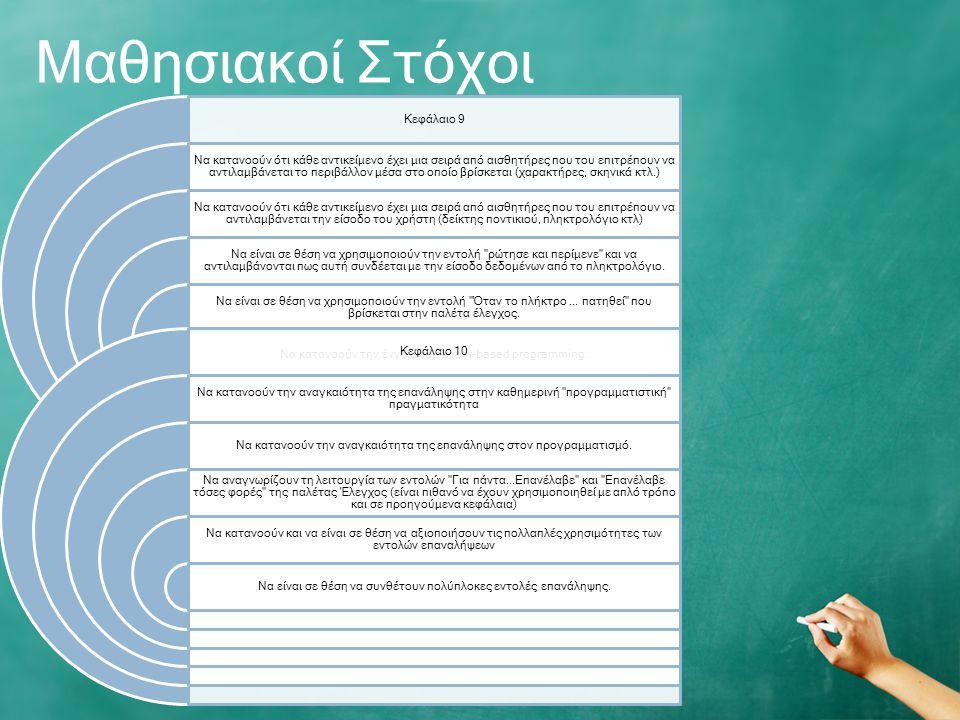 Μαθησιακοί Στόχοι Κεφάλαιο 9 Να κατανοούν ότι κάθε αντικείμενο έχει μια σειρά από αισθητήρες που του επιτρέπουν να αντιλαμβάνεται το περιβάλλον μέσα στο οποίο βρίσκεται (χαρακτήρες, σκηνικά κτλ.) Να κατανοούν ότι κάθε αντικείμενο έχει μια σειρά από αισθητήρες που του επιτρέπουν να αντιλαμβάνεται την είσοδο του χρήστη (δείκτης ποντικιού, πληκτρολόγιο κτλ) Να είναι σε θέση να χρησιμοποιούν την εντολή ρώτησε και περίμενε και να αντιλαμβάνονται πως αυτή συνδέεται με την είσοδο δεδομένων από το πληκτρολόγιο.