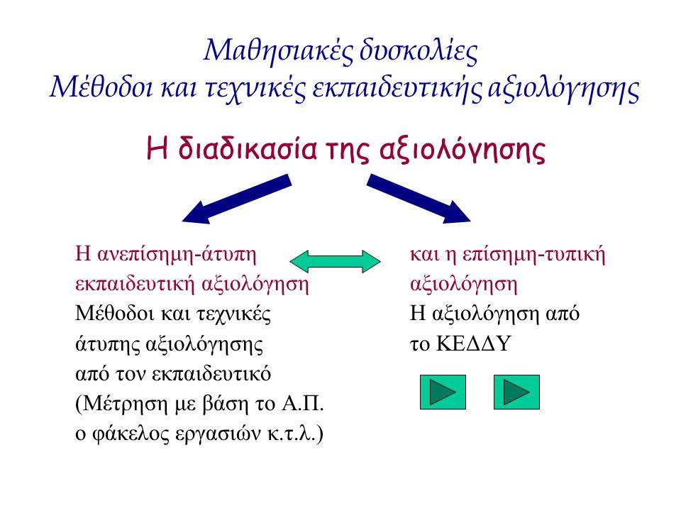 Η διαδικασία της αξιολόγησης Η ανεπίσημη-άτυπη και η επίσημη-τυπική εκπαιδευτική αξιολόγηση αξιολόγηση Μέθοδοι και τεχνικές Η αξιολόγηση από άτυπης αξ
