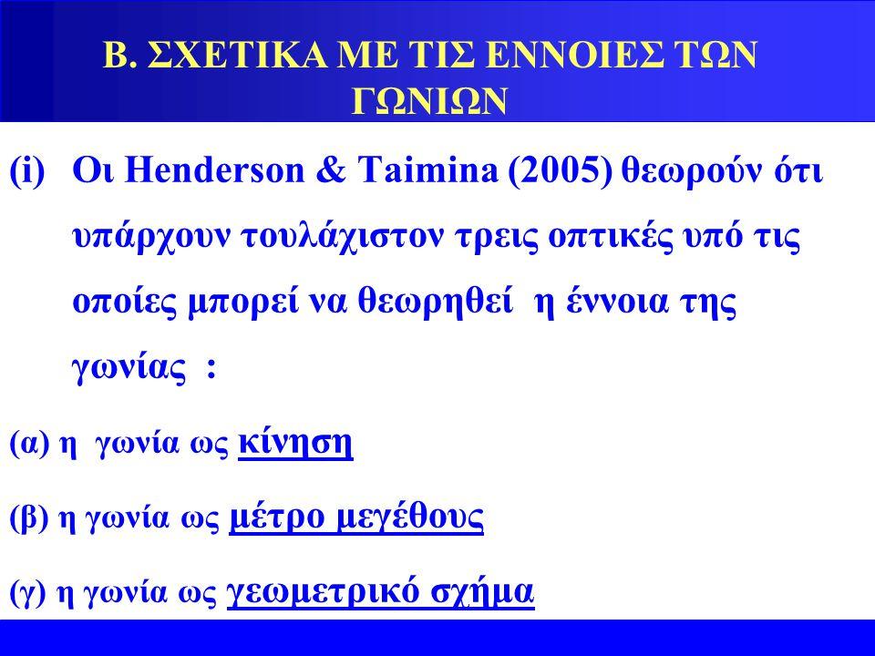 Β. ΣΧΕΤΙΚΑ ΜΕ ΤΙΣ ΕΝΝΟΙΕΣ ΤΩΝ ΓΩΝΙΩΝ (i)Οι Henderson & Taimina (2005) θεωρούν ότι υπάρχουν τουλάχιστον τρεις οπτικές υπό τις οποίες μπορεί να θεωρηθεί