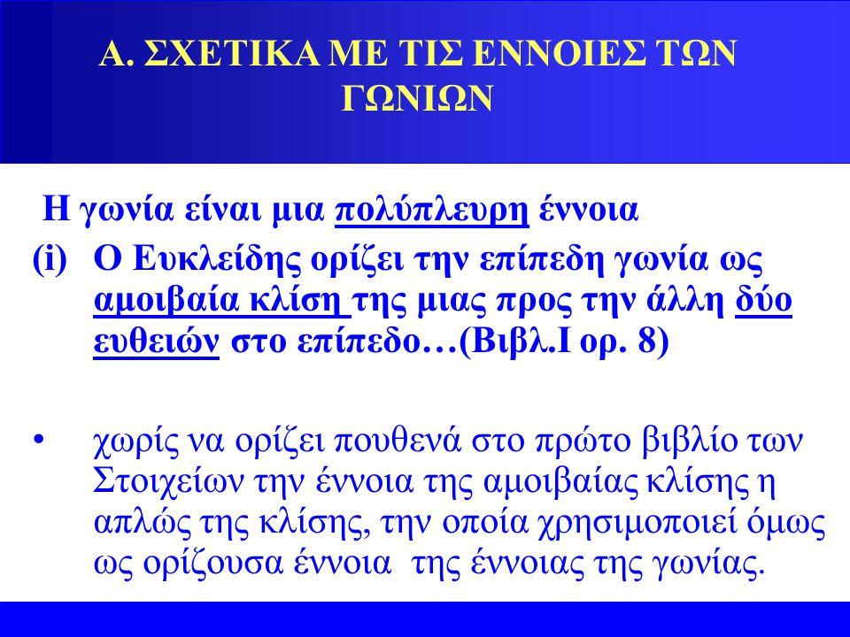 Α. ΣΧΕΤΙΚΑ ΜΕ ΤΙΣ ΕΝΝΟΙΕΣ ΤΩΝ ΓΩΝΙΩΝ Η γωνία είναι μια πολύπλευρη έννοια (i)Ο Eυκλείδης ορίζει την επίπεδη γωνία ως αμοιβαία κλίση της μιας προς την ά