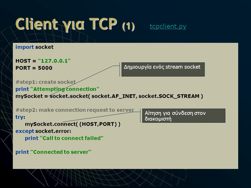 Client για TCP (1) import socket HOST = 127.0.0.1 PORT = 5000 #step1: create socket print Attempting connection mySocket = socket.socket( socket.AF_INET, socket.SOCK_STREAM ) #step2: make connection request to server try: mySocket.connect( (HOST,PORT) ) except socket.error: print Call to connect failed print Connected to server tcpclient.py Δημιουργία ενός stream socket Αίτηση για σύνδεση στον διακομιστή