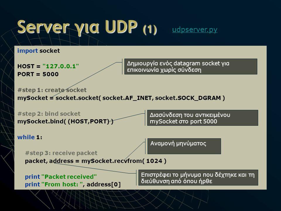 Server για UDP (1) import socket HOST =
