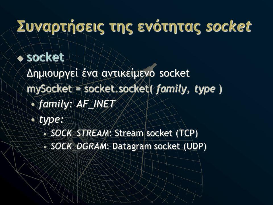 Συναρτήσεις της ενότητας socket  socket Δημιουργεί ένα αντικείμενο socket mySocket = socket.socket( family, type ) family: AF_INETfamily: AF_INET typ