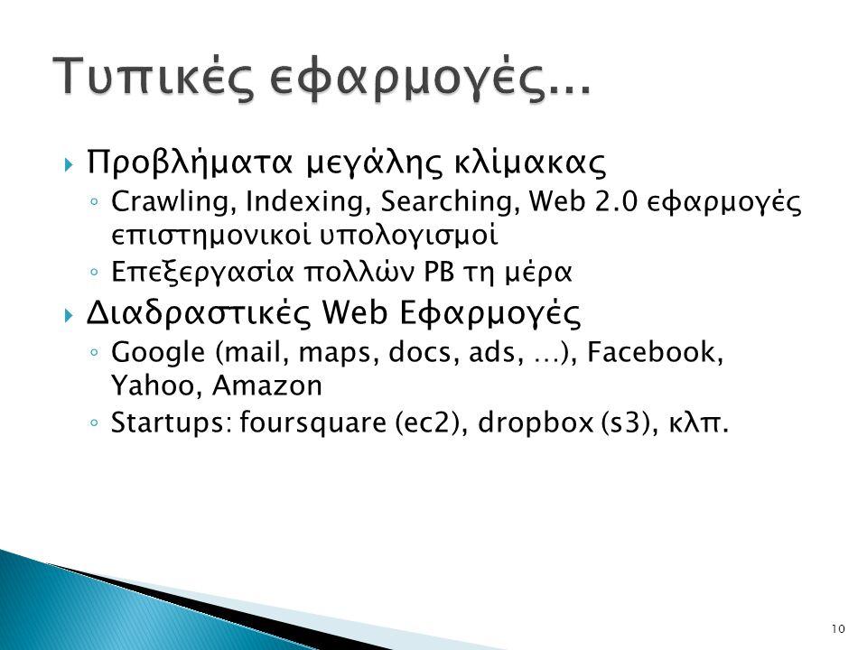  Προβλήματα μεγάλης κλίμακας ◦ Crawling, Indexing, Searching, Web 2.0 εφαρμογές επιστημονικοί υπολογισμοί ◦ Επεξεργασία πολλών PB τη μέρα  Διαδραστικές Web Εφαρμογές ◦ Google (mail, maps, docs, ads, …), Facebook, Yahoo, Amazon ◦ Startups: foursquare (ec2), dropbox (s3), κλπ.