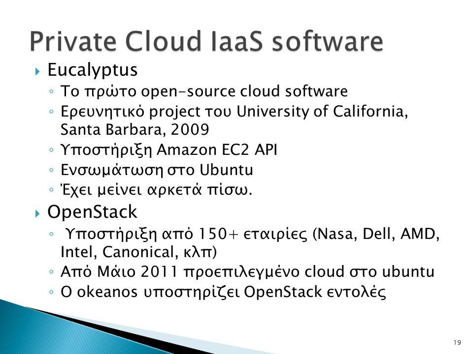  Eucalyptus ◦ Το πρώτο open-source cloud software ◦ Ερευνητικό project του University of California, Santa Barbara, 2009 ◦ Υποστήριξη Amazon EC2 API ◦ Ενσωμάτωση στο Ubuntu ◦ Έχει μείνει αρκετά πίσω.