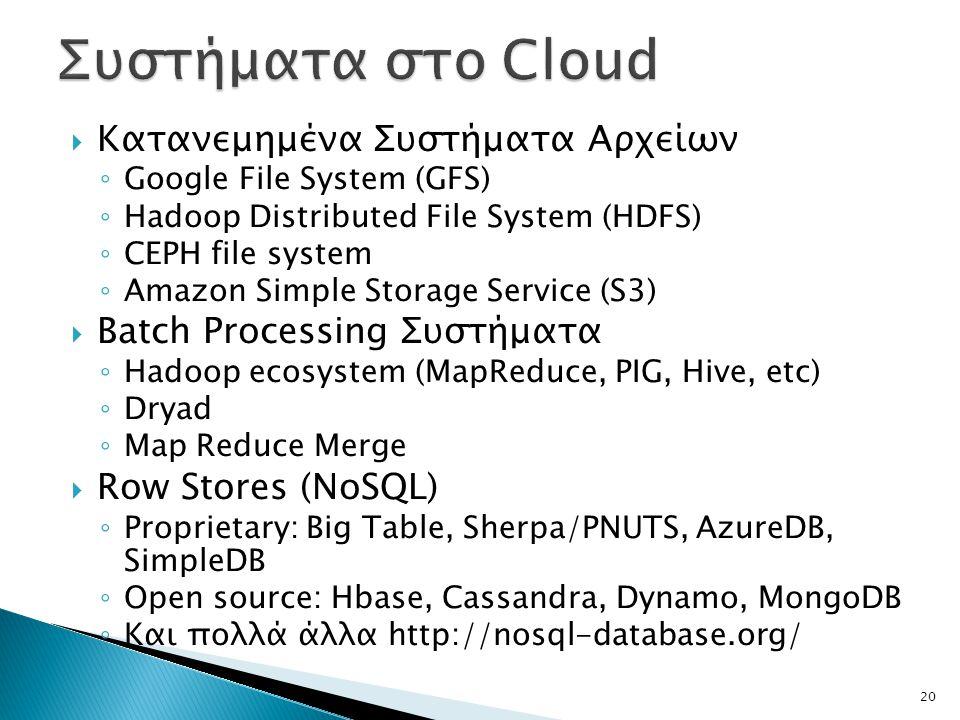  Κατανεμημένα Συστήματα Αρχείων ◦ Google File System (GFS) ◦ Hadoop Distributed File System (HDFS) ◦ CEPH file system ◦ Amazon Simple Storage Service (S3)  Batch Processing Συστήματα ◦ Hadoop ecosystem (MapReduce, PIG, Hive, etc) ◦ Dryad ◦ Map Reduce Merge  Row Stores (NoSQL) ◦ Proprietary: Big Table, Sherpa/PNUTS, AzureDB, SimpleDB ◦ Open source: Hbase, Cassandra, Dynamo, MongoDB ◦ Και πολλά άλλα http://nosql-database.org/ 20