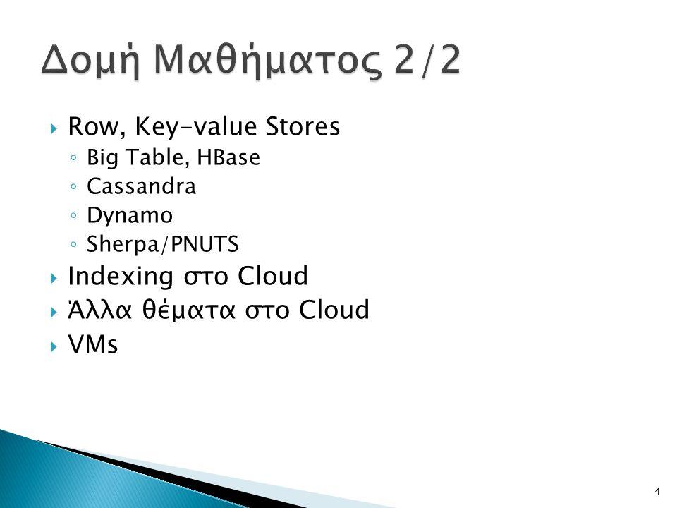  Row, Key-value Stores ◦ Big Table, HBase ◦ Cassandra ◦ Dynamo ◦ Sherpa/PNUTS  Indexing στο Cloud  Άλλα θέματα στο Cloud  VMs 4