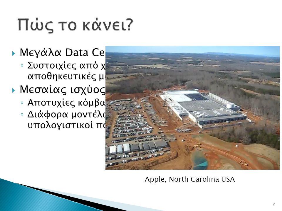  Μεγάλα Data Centers ◦ Συστοιχίες από χιλιάδες υπολογιστές και αποθηκευτικές μονάδες  Μεσαίας ισχύος υλικό (commodity hardware) ◦ Αποτυχίες κόμβων συνηθισμένες ◦ Διάφορα μοντέλα υπολογισμού / Ανομοιογενείς υπολογιστικοί πόροι 7 Apple, North Carolina USA