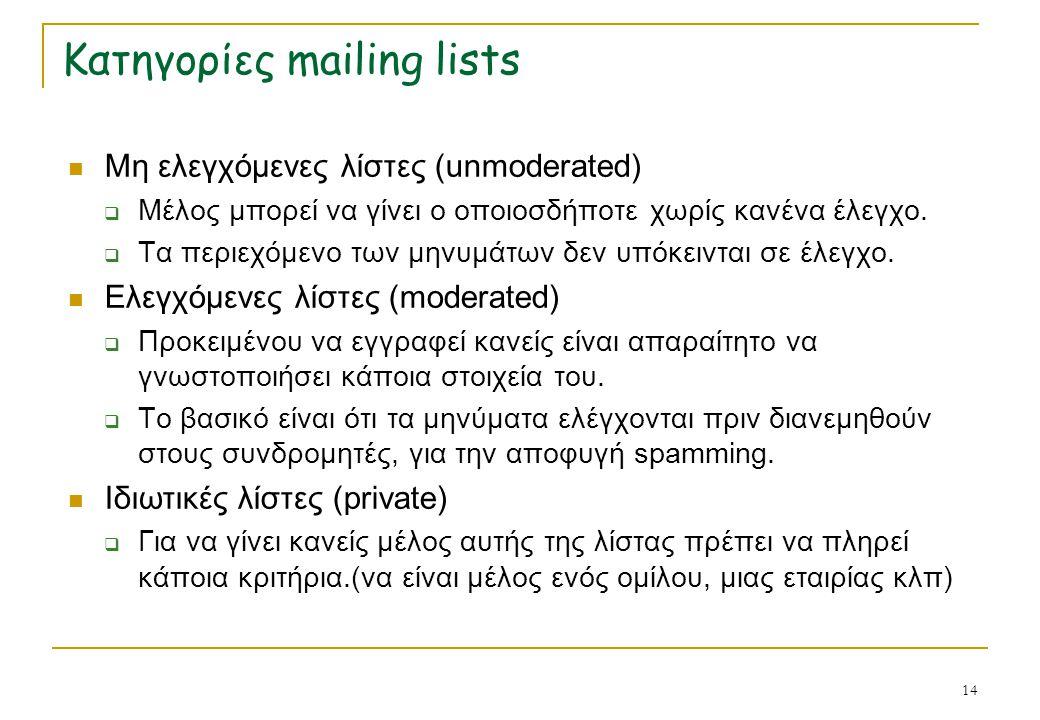 14 Κατηγορίες mailing lists Μη ελεγχόμενες λίστες (unmoderated)  Μέλος μπορεί να γίνει ο οποιοσδήποτε χωρίς κανένα έλεγχο.  Τα περιεχόμενο των μηνυμ