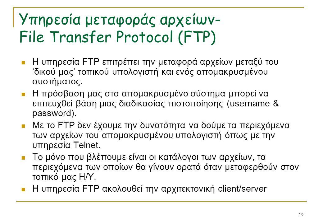 19 Υπηρεσία μεταφοράς αρχείων- File Transfer Protocol (FTP) Η υπηρεσία FTP επιτρέπει την μεταφορά αρχείων μεταξύ του 'δικού μας' τοπικού υπολογιστή κα