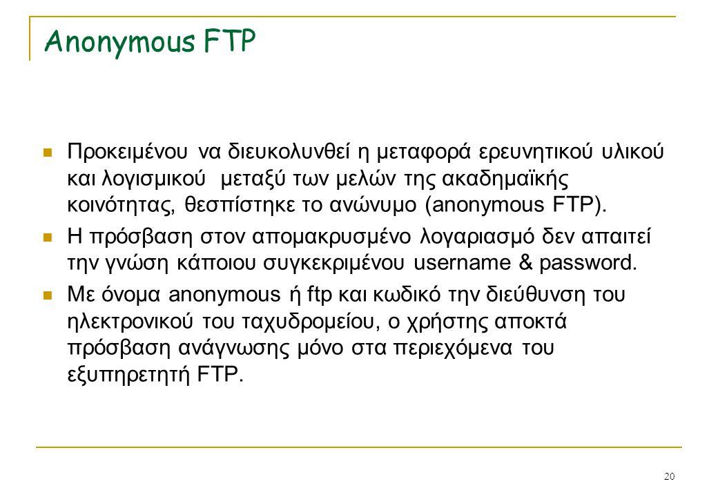 20 Anonymous FTP Προκειμένου να διευκολυνθεί η μεταφορά ερευνητικού υλικού και λογισμικού μεταξύ των μελών της ακαδημαϊκής κοινότητας, θεσπίστηκε το α