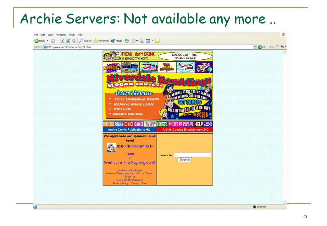 23 Archie Servers: Not available any more..