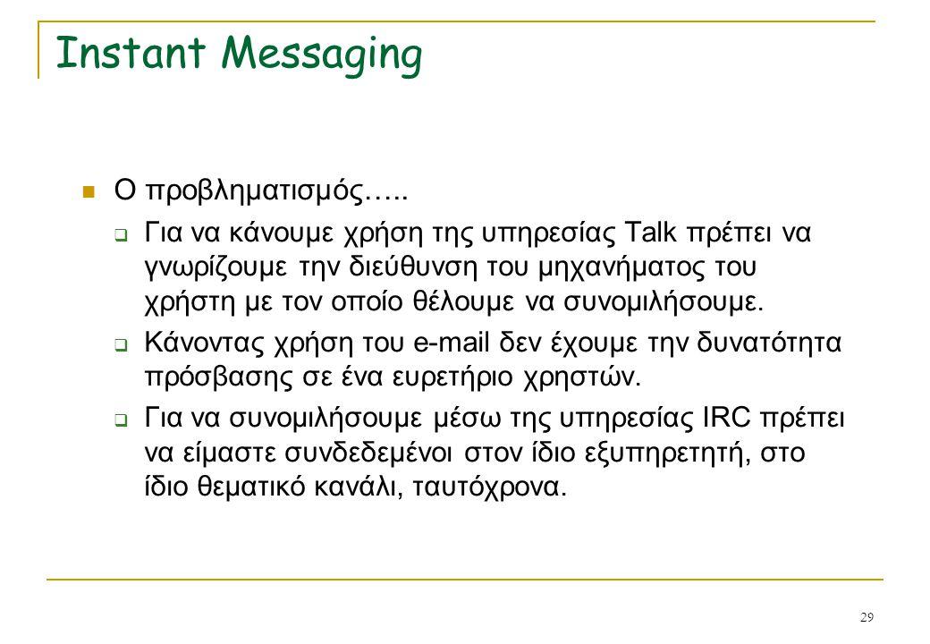 29 Instant Messaging Ο προβληματισμός…..  Για να κάνουμε χρήση της υπηρεσίας Talk πρέπει να γνωρίζουμε την διεύθυνση του μηχανήματος του χρήστη με το