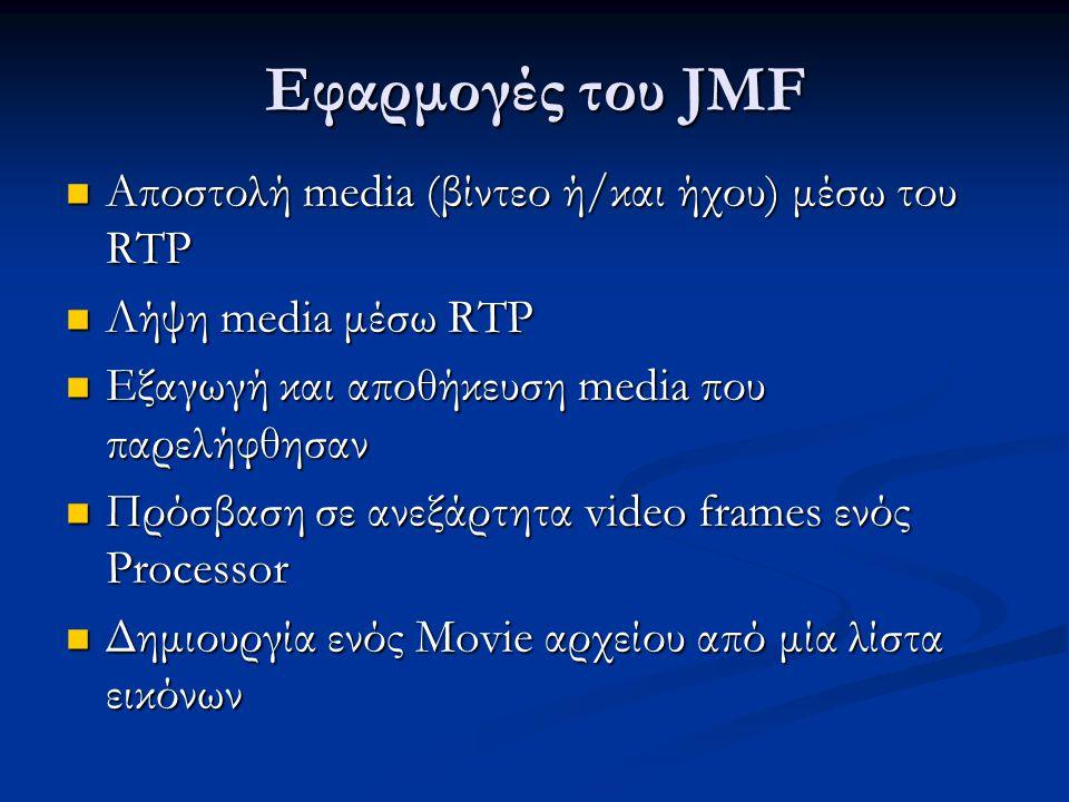Εφαρμογές του JMF Αποστολή media (βίντεο ή/και ήχου) μέσω του RTP Αποστολή media (βίντεο ή/και ήχου) μέσω του RTP Λήψη media μέσω RTP Λήψη media μέσω RTP Εξαγωγή και αποθήκευση media που παρελήφθησαν Εξαγωγή και αποθήκευση media που παρελήφθησαν Πρόσβαση σε ανεξάρτητα video frames ενός Processor Πρόσβαση σε ανεξάρτητα video frames ενός Processor Δημιουργία ενός Movie αρχείου από μία λίστα εικόνων Δημιουργία ενός Movie αρχείου από μία λίστα εικόνων