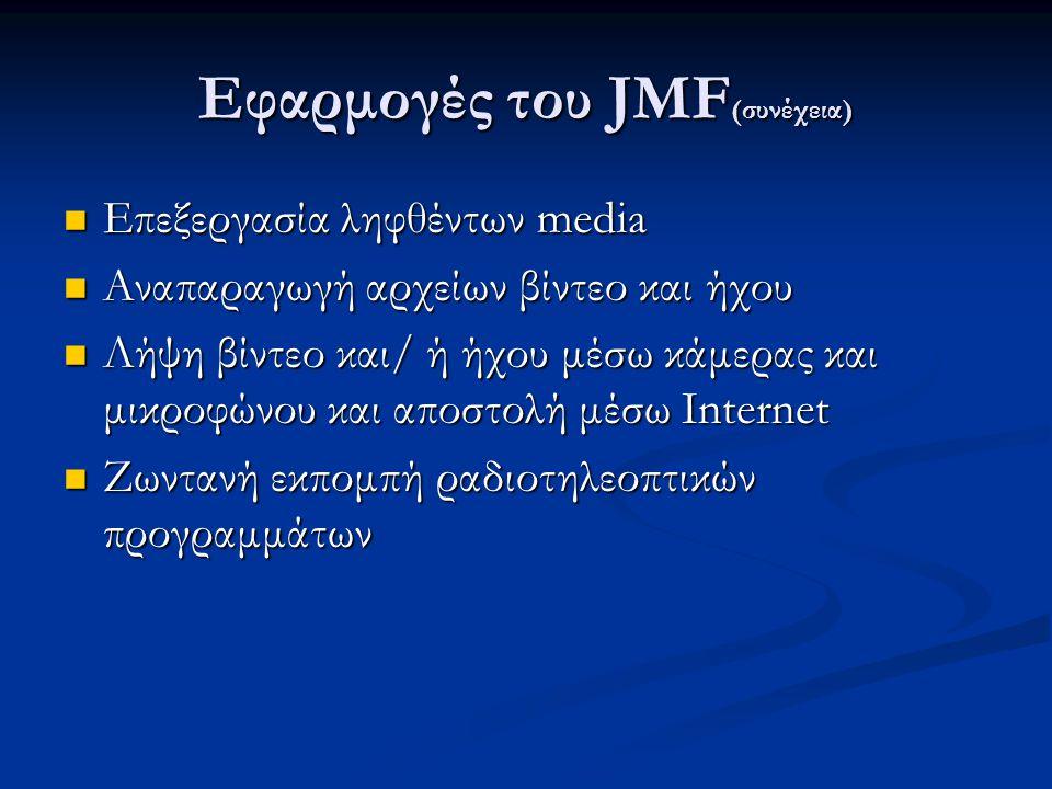 Εφαρμογές του JMF (συνέχεια) Επεξεργασία ληφθέντων media Επεξεργασία ληφθέντων media Αναπαραγωγή αρχείων βίντεο και ήχου Αναπαραγωγή αρχείων βίντεο και ήχου Λήψη βίντεο και/ ή ήχου μέσω κάμερας και μικροφώνου και αποστολή μέσω Internet Λήψη βίντεο και/ ή ήχου μέσω κάμερας και μικροφώνου και αποστολή μέσω Internet Ζωντανή εκπομπή ραδιοτηλεοπτικών προγραμμάτων Ζωντανή εκπομπή ραδιοτηλεοπτικών προγραμμάτων