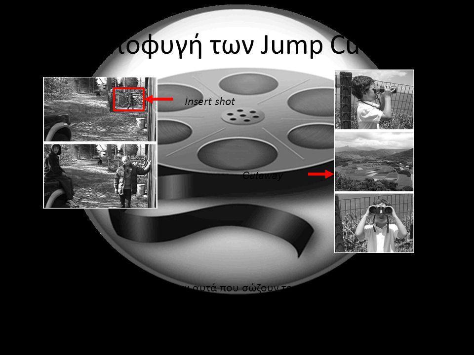 Αποφυγή των Jump Cuts Insert shot Cutaway Τα ενδιάμεσα πλάνα είναι αυτά που σώζουν τη κατάσταση! Η εναλλακτική λύση είναι τα εφε στις ενώσεις των πλάν