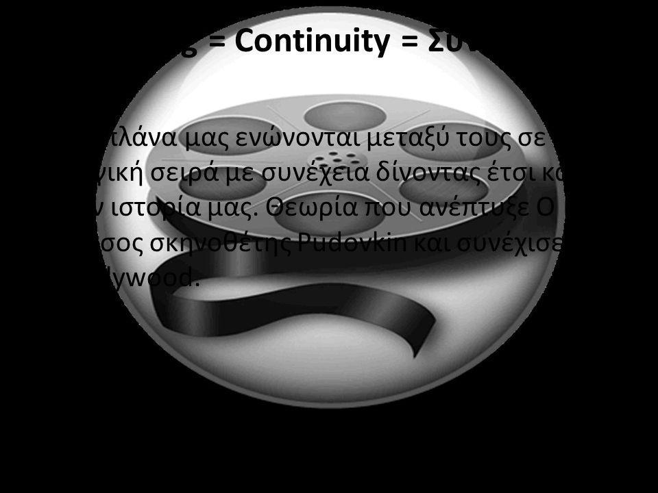 Editing = Continuity = Συνέχεια Τα πλάνα μας ενώνονται μεταξύ τους σε μια λογική σειρά με συνέχεια δίνοντας έτσι και την ιστορία μας. Θεωρία που ανέπτ