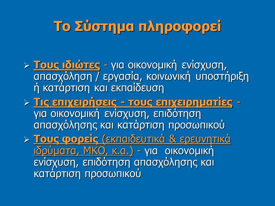 Το Σύστημα πληροφορεί  Τους ιδιώτες - για οικονομική ενίσχυση, απασχόληση / εργασία, κοινωνική υποστήριξη ή κατάρτιση και εκπαίδευση  Τις επιχειρήσεις - τους επιχειρηματίες - για οικονομική ενίσχυση, επιδότηση απασχόλησης και κατάρτιση προσωπικού  Τους φορείς (εκπαιδευτικά & ερευνητικά ιδρύματα, ΜΚΟ, κ.α.) - για οικονομική ενίσχυση, επιδότηση απασχόλησης και κατάρτιση προσωπικού