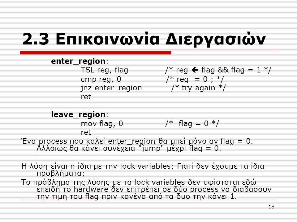 18 2.3 Επικοινωνία Διεργασιών enter_region: TSL reg, flag /* reg  flag && flag = 1 */ cmp reg, 0 /* reg = 0 ; */ jnz enter_region /* try again */ ret