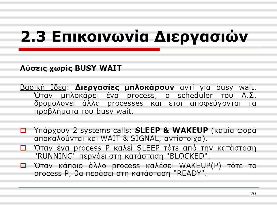 20 2.3 Επικοινωνία Διεργασιών Λύσεις χωρίς BUSY WAIT Βασική Ιδέα: Διεργασίες μπλοκάρουν αντί για busy wait. Όταν μπλοκάρει ένα process, ο scheduler το