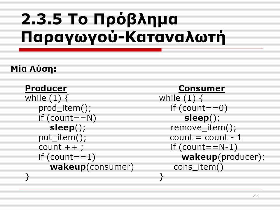 23 2.3.5 Το Πρόβλημα Παραγωγού-Καταναλωτή Μία Λύση: Producer Consumer while (1) { prod_item(); if (count==0) if (count==N) sleep(); sleep(); remove_item(); put_item(); count = count - 1 count ++ ; if (count==N-1) if (count==1) wakeup(producer); wakeup(consumer) cons_item() }