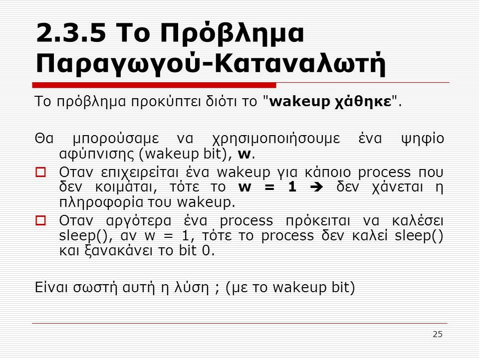 25 2.3.5 Το Πρόβλημα Παραγωγού-Καταναλωτή Το πρόβλημα προκύπτει διότι το wakeup χάθηκε .