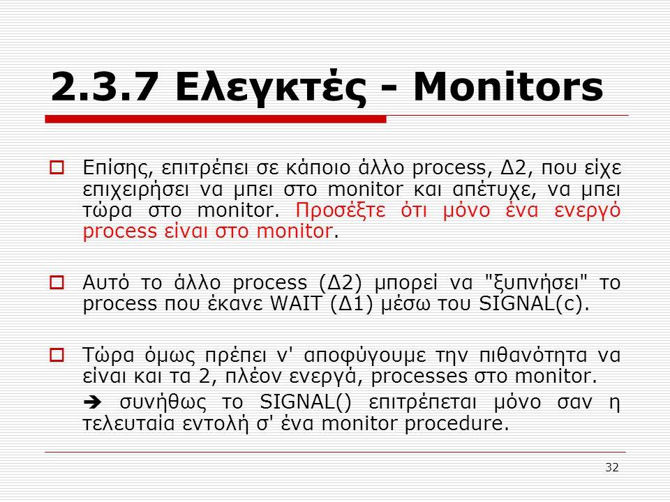 32 2.3.7 Ελεγκτές - Μonitors  Επίσης, επιτρέπει σε κάποιο άλλο process, Δ2, που είχε επιχειρήσει να μπει στο monitor και απέτυχε, να μπει τώρα στο monitor.