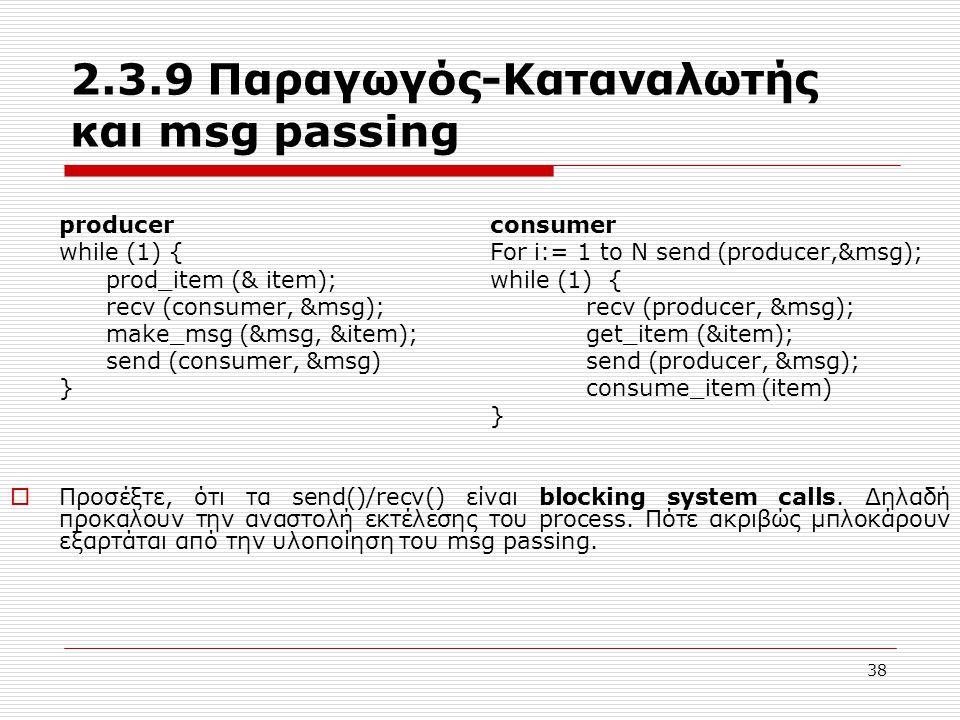 38 2.3.9 Παραγωγός-Καταναλωτής και msg passing producer consumer while (1) { For i:= 1 to N send (producer,&msg); prod_item (& item); while (1) { recv (consumer, &msg); recv (producer, &msg); make_msg (&msg, &item);get_item (&item); send (consumer, &msg)send (producer, &msg); } consume_item (item) }  Προσέξτε, ότι τα send()/recv() είναι blocking system calls.